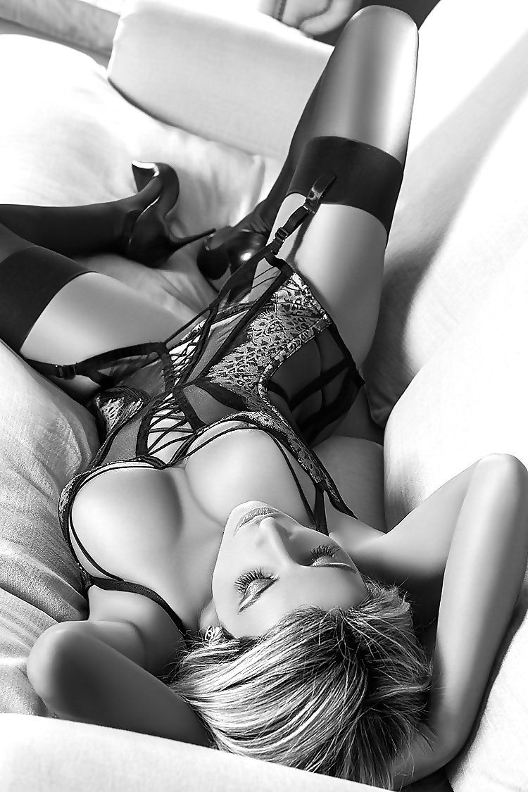 Picture tagged with: Blonde, Black and White, Lingerie
