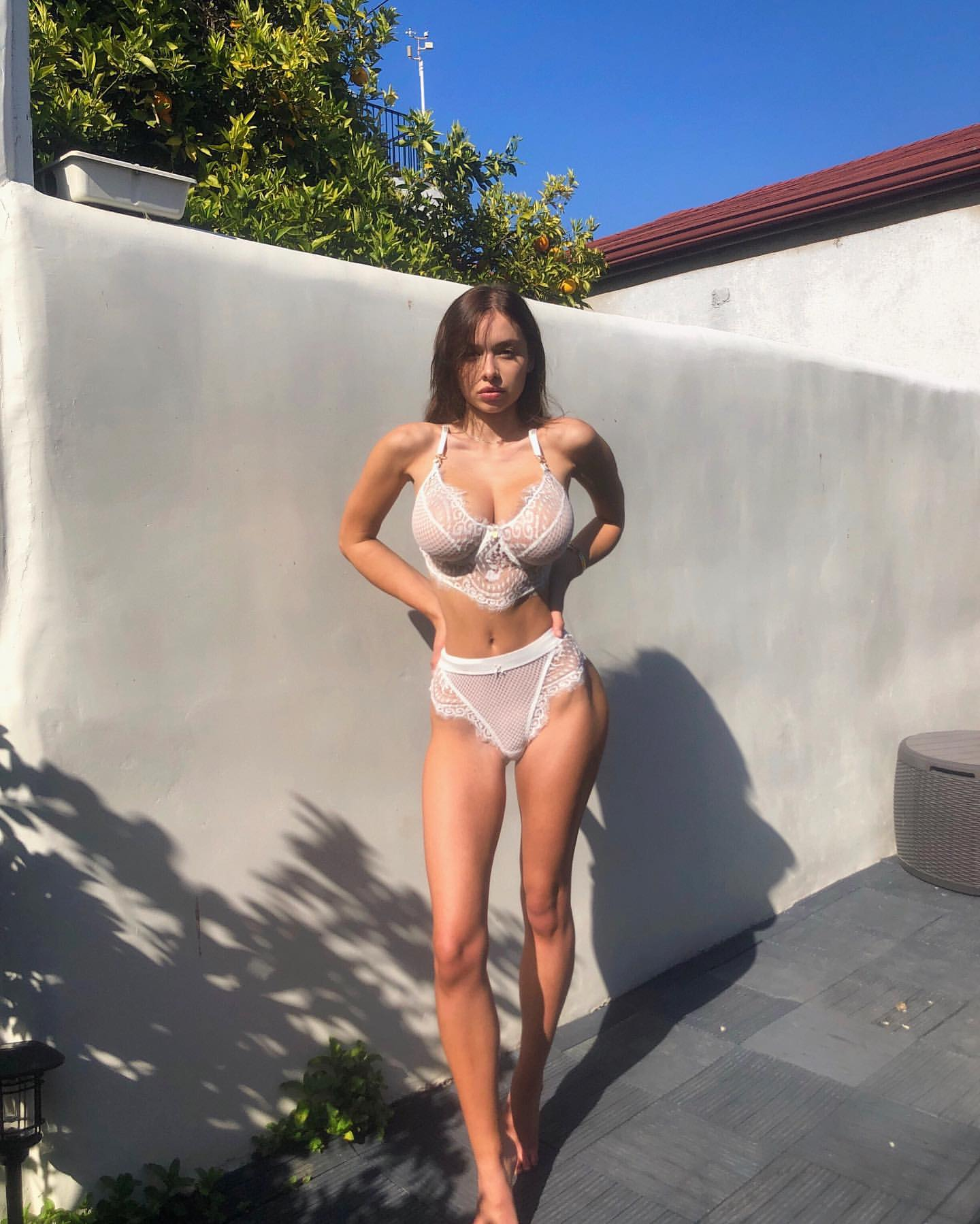 Picture tagged with: Skinny, Brunette, Busty, Sophie Mudd, Lingerie