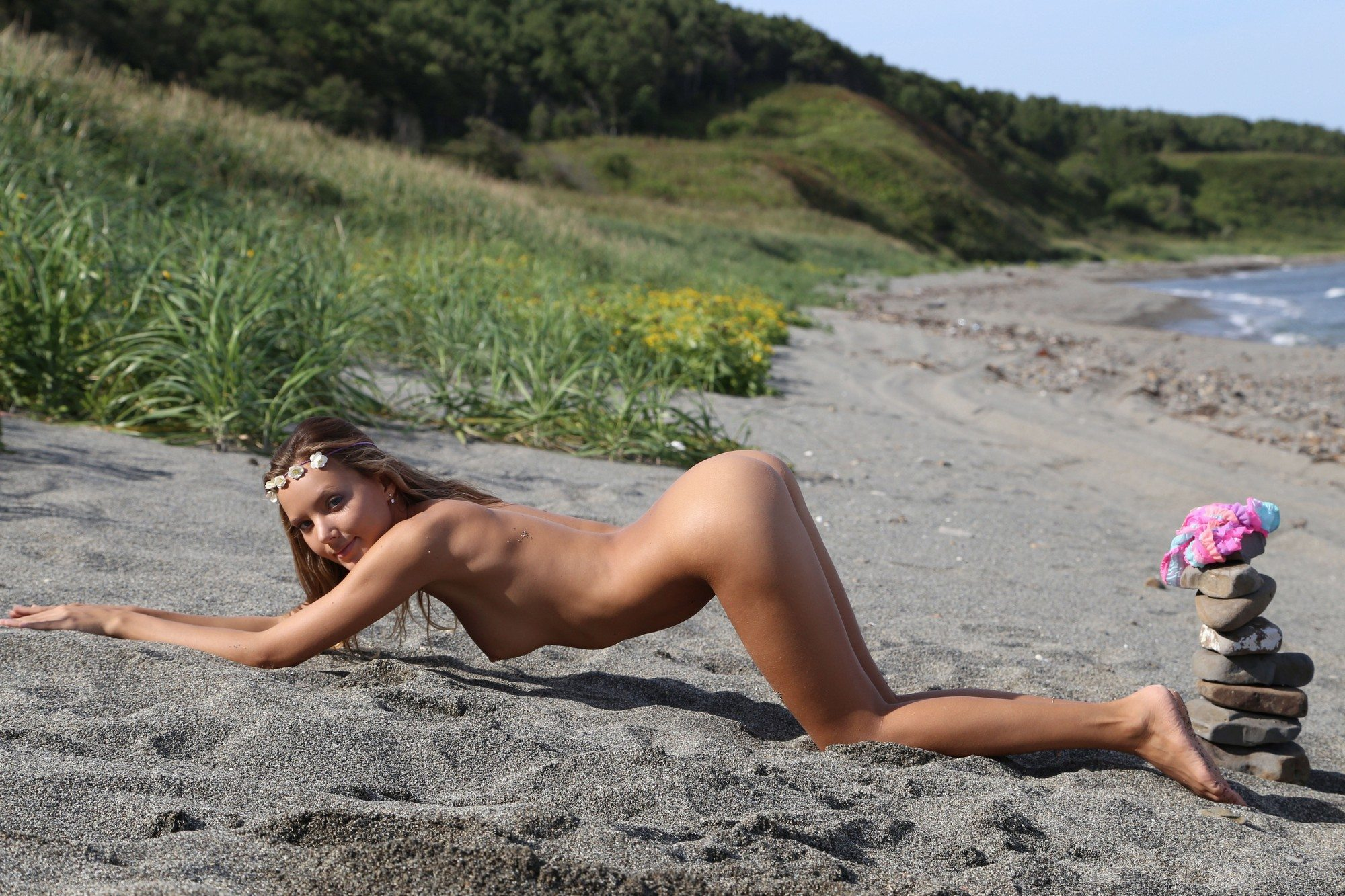 Picture tagged with: Skinny, Blonde, Katya Clover - Mango A, MET Art, Ritoua, Beach