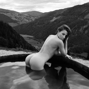 Picture tagged with: Brunette, Black and White, Nature, Pool