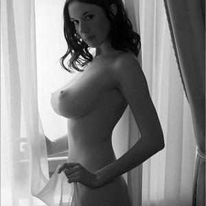 Picture tagged with: Busty, Brunette, Black and White, Boobs