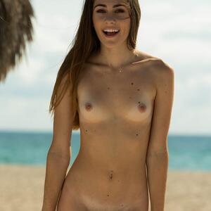 Picture tagged with: FTV Girls, Skinny, Brunette, Beach, Flat chested, Mackenzie Mace, Small Tits, Smiling, Tummy
