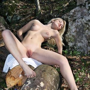 Picture tagged with: Femjoy, Skinny, Blonde, Boobs, Nature, Pussy