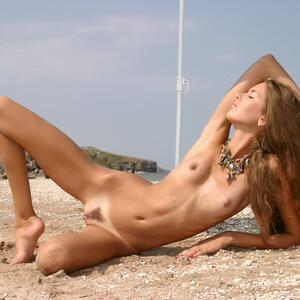 Picture tagged with: MET Art, Skinny, Brunette, Alena I, Beach, Flat chested, Small Tits, Solare, Tummy
