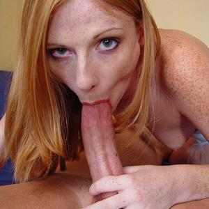Picture tagged with: Redhead, Blowjob