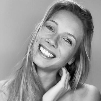 Picture tagged with: Amandine Petit, Black and White, Blonde, Celebrity, Face, Miss France 2021, Safe for work, Smiling