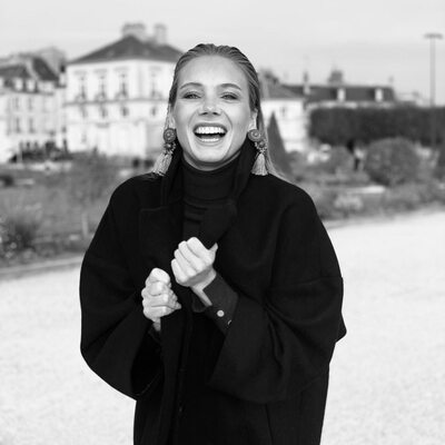 Picture tagged with: Amandine Petit, Black and White, Blonde, Celebrity, Miss France 2021, Safe for work, Smiling