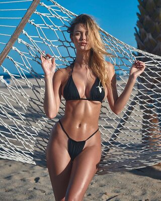 Picture tagged with: Blonde, Beach, Bikini, Chloé Margaux Avenaim, Tummy