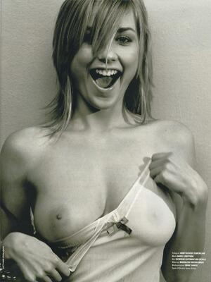Picture tagged with: Blonde, Black and White, Boobs, Smiling