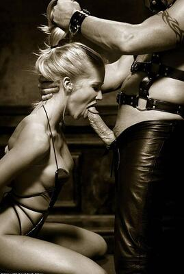 Picture tagged with: Blonde, Blowjob, Bondage