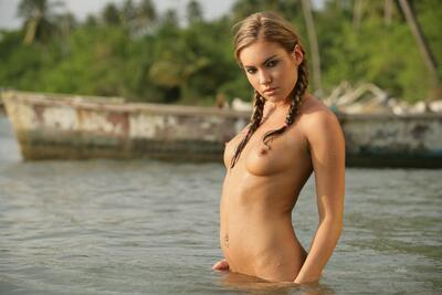 Picture tagged with: Blonde, Veronika Fasterova, Braid, Piercing, Small Tits, Tummy