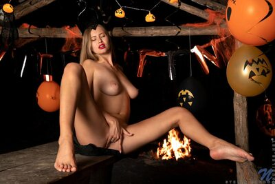 Picture tagged with: Blonde, Camgirl, Stella Cardo, Boobs, Halloween, Masturbation