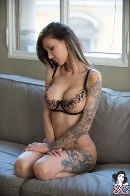 Picture tagged with: Blonde, Lingerie, Tattoo