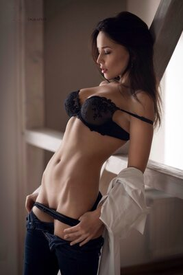 Picture tagged with: Angelina Petrova, Brunette, Lingerie, Tummy