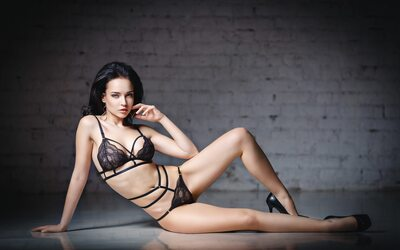 Picture tagged with: Angelina Petrova, Brunette, Lingerie