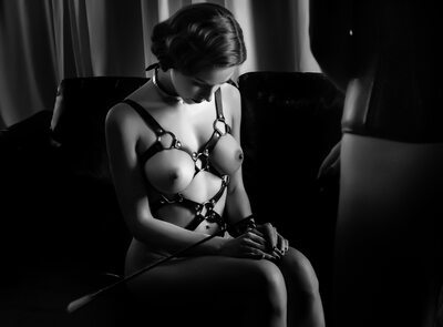 Picture tagged with: Brunette, Black and White, Bondage