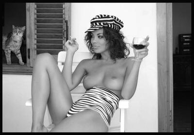 Picture tagged with: Black and White, Brunette, Boobs, Cat, Wine