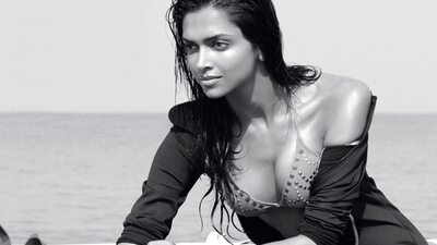 Picture tagged with: Brunette, Black and White, Celebrity - Star, Deepika Padukone, Safe for work