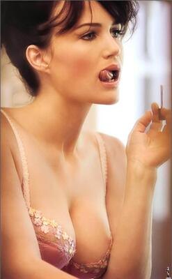 Picture tagged with: Brunette, Carla Gugino, Boobs, Celebrity - Star, Lingerie, Tongue