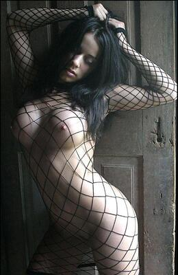 Picture tagged with: Brunette, Boobs, Fish Net