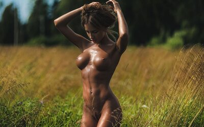 Picture tagged with: Brunette, Boobs, Nature, Piercing, Tanned