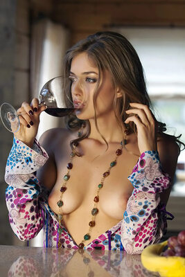Picture tagged with: Brunette, Boobs, Wine