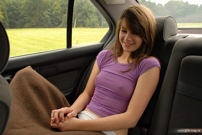 Picture tagged with: Brunette, Car, Cute