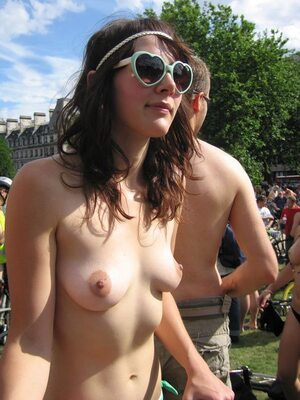 Picture tagged with: Brunette, Public, Small Tits