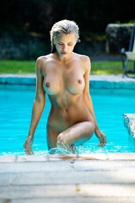 Picture tagged with: Blonde, Busty, Nata Lee, Boobs, Pool