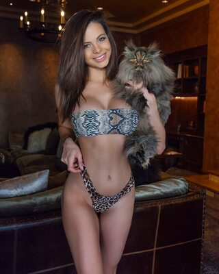 Picture tagged with: Brunette, Busty, Katie Bell, Bikini, Boobs, Cat, Smiling