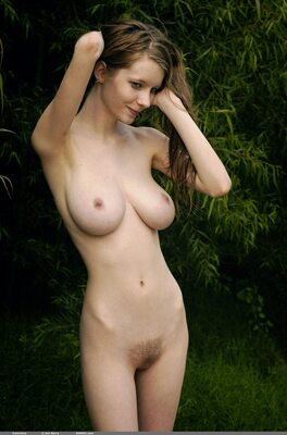 Picture tagged with: Busty, Brunette, Boobs, Nature, Tummy