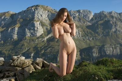 Picture tagged with: Femjoy, Busty, Alpengluehen, Nature, Susann