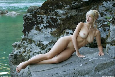 Picture tagged with: Femjoy, Busty, Blonde, Corinna, On the Rocks