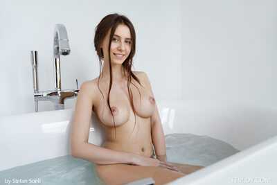 Picture tagged with: Femjoy, Busty, Brunette, Alisa Amore, Bath, Boobs