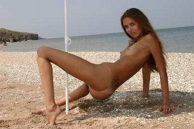 Picture tagged with: Skinny, Alena I, Brunette, MET Art, Solare, Beach, Small Tits