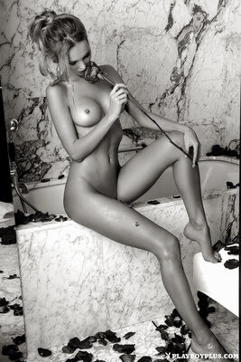 Picture tagged with: Playboy, Skinny, Blonde, Black and White, Kristina Yarkaya