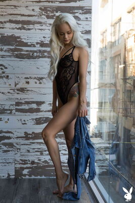 Picture tagged with: Playboy, Skinny, Blonde, Elsa Jean, Flat Chested, Lingerie, Small Tits, Tattoo