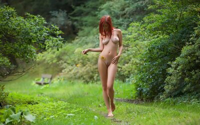 Picture tagged with: Redhead, Boobs, Nature