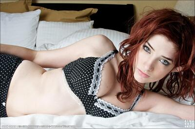 Picture tagged with: Redhead, Eyes, Lingerie, Susan Coffey