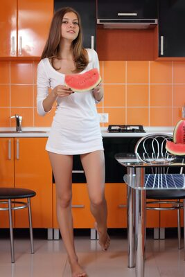Picture tagged with: Skinny, Amour Angels, Brunette, Ksenia, Watermelon Joy, Cute, Safe for work
