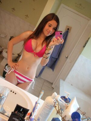 Picture tagged with: Skinny, Angie Varona, Brunette, Bikini, Cute, Selfie, Tummy