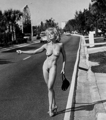 Picture tagged with: Skinny, Black and White, Blonde, Boobs, Vintage