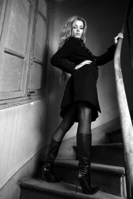 Picture tagged with: Skinny, Black and White, Blonde, Kristyna Hruskova