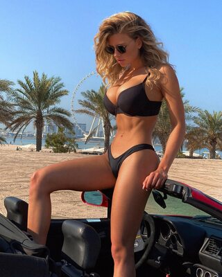 Picture tagged with: Skinny, Blonde, Busty, Nata Lee, Beach, Bikini, Car, Cute, Tummy