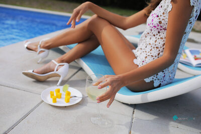Picture tagged with: Skinny, Blonde, Cafe Society, Katya Clover - Mango A, katya-clover.com, Legs, Pool, Safe for work, Wine