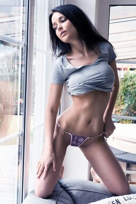 Picture tagged with: Skinny, Angelina Petrova, Brunette, Lingerie, Tummy