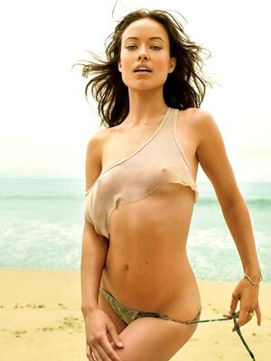 Picture tagged with: Skinny, Brunette, Olivia Wilde, Beach, Small Tits, Tummy