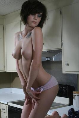 Picture tagged with: Skinny, Brunette, Boobs, Tattoo