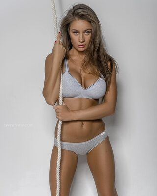 Picture tagged with: Skinny, Brunette, Lingerie, Olga Katysheva