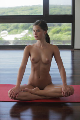 Picture tagged with: Skinny, Brunette, Little Caprice, Sexy Yoga Cutie, X-Art, Cute, Small Tits, Tummy